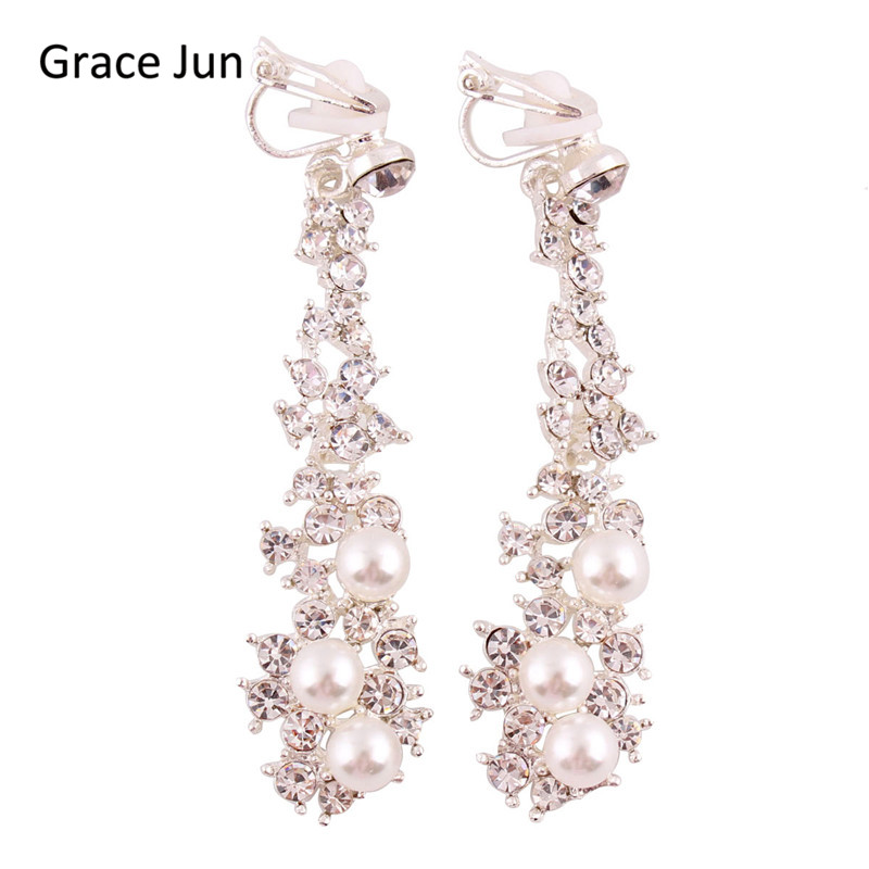 Grace Jun High Quality Long Rhinestone Simulated Pearl Clip on Earrings Without Piercing for Women Party