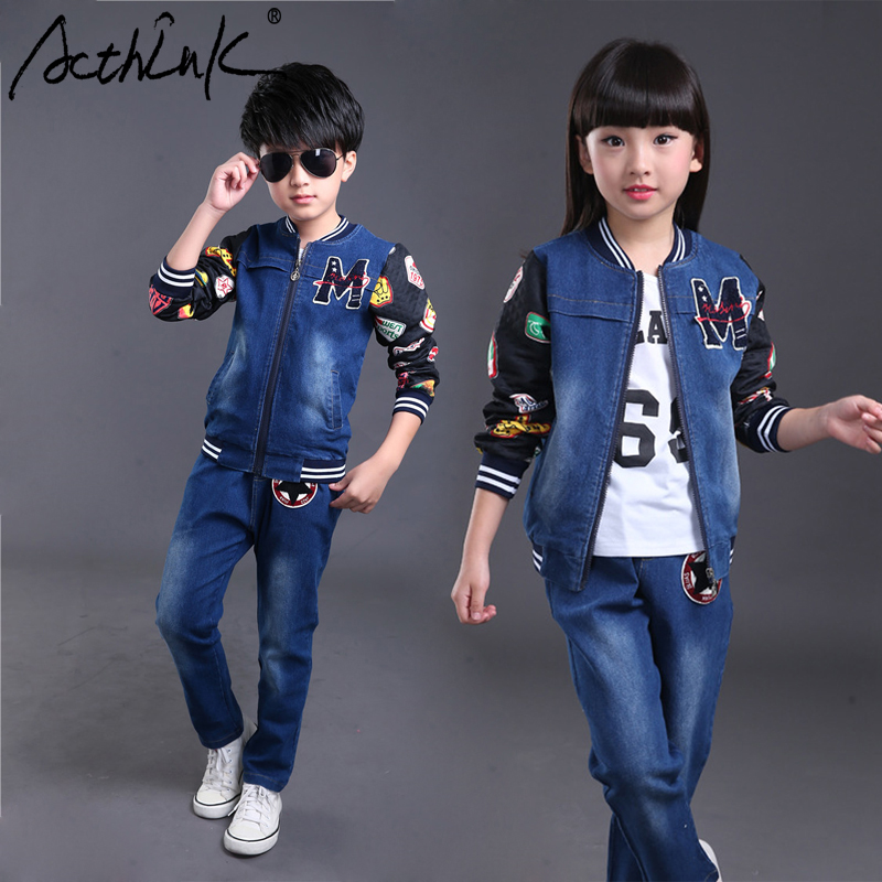 ActhInK New Children Letter Denim Suits Boys Denim Baseball Jacket Sports Suit Girls Spring Patchwork Tracksuit Kids Jeans Set 2015 new arrive super league christmas outfit pajamas for boys kids children suit st 004