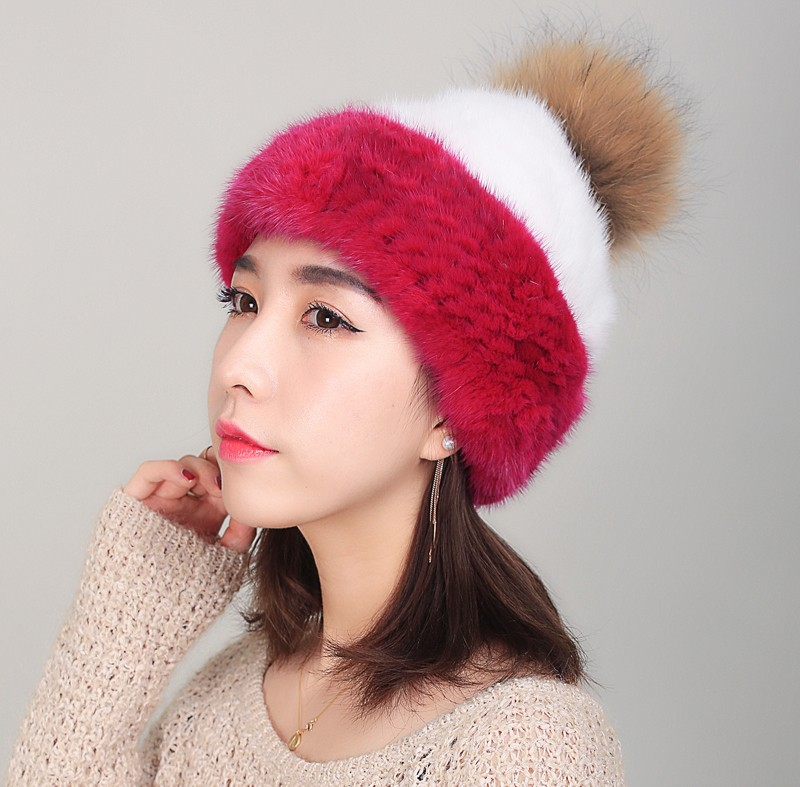 Mink and Cap Pom Poms Winter Hat Hat Knitted Beanies Cap New Thick Fe Skullies,H,Adult