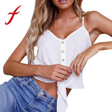 1c8ff4b8173 (Ship from US) Feitong Summer Women Thin Tank Tops Camisole Sexy Strappy v  Neck Tie Buttons Sleeveless Vest Tank Shirt Crop Tops Camis feminino