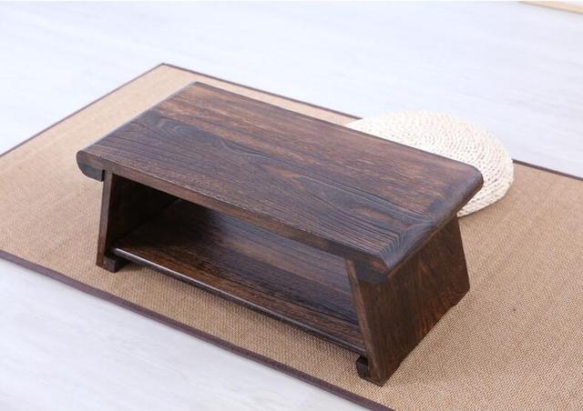 Japanese Floor Desk Table Folding Leg 60*35cm Rectangle Asian Antique  Furniture Traditional Living Room