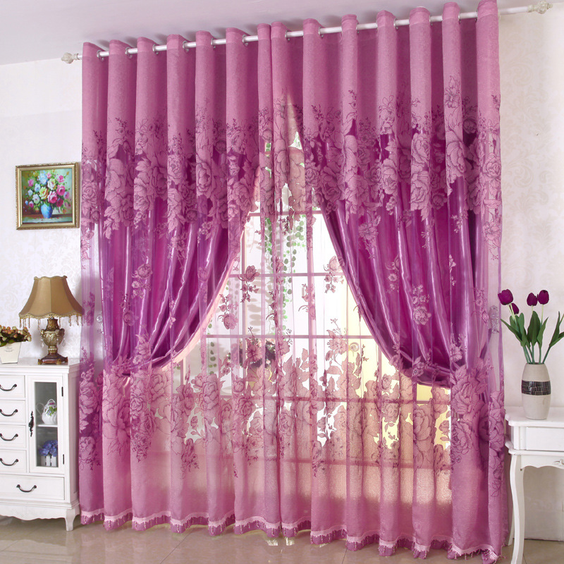 Byetee} European Style new design red Sheer curtains for living ...