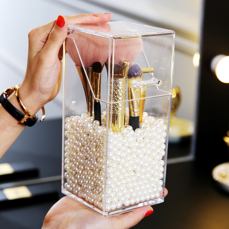 M makeup brush holder pearls organizer acrylic plastic clear cosmetic brush white pink pearls storage box