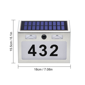 Image 2 - 5 LED חיצוני Doorplate שמש מנורת Waterproof בית מספר LED שמש אור Montion חיישן Plaue אור לבית גן דלת