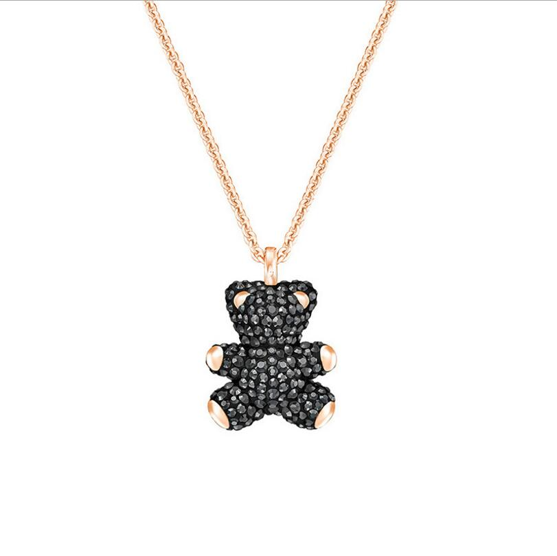 Drop shipping s925 Sterling Silver Crystal Bear Pendant Female Clavicle Chain Necklaces Choker Pendants Necklaces For Women Gift