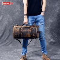 Multi functional Men handbag genuine leather shoulder crossbody bag crazy horse leather male small travel back pack bucket bags