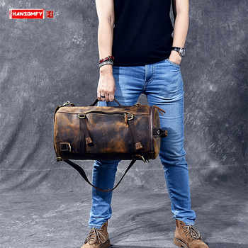 Multi-functional Men handbag genuine leather shoulder crossbody bag crazy horse leather male small travel back pack bucket bags - DISCOUNT ITEM  49% OFF All Category