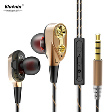 Bluenin Double Dynamic Earphone Bass Subwoofer Unit Drive In Ear Headphones Music Wired Earbuds Fever Hi-Fi Auriculares