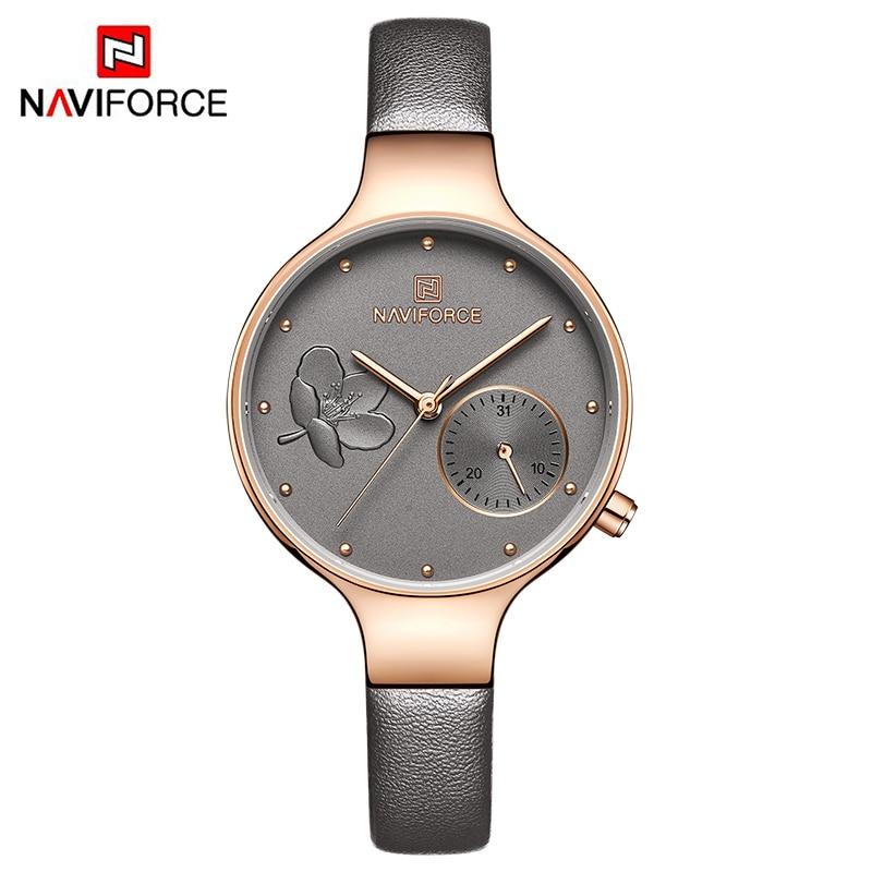Image 5 - NAVIFORCE Women Watches Top Brand Luxury Fashion Female Quartz Wrist Watch Ladies Leather Waterproof Clock Girl Relogio Feminino-in Women's Watches from Watches