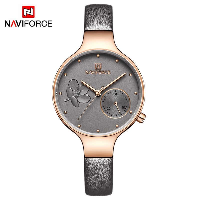 c9149e20829 ... NAVIFORCE Women Watches Top Brand Luxury Fashion Female Quartz Wrist  Watch Ladies Leather Waterproof Clock Girl