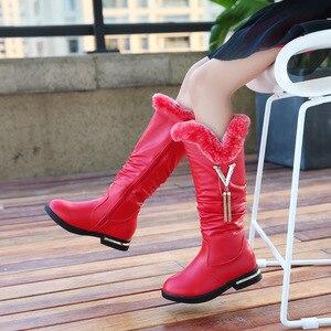 Image 2 - Детские сапоги; Сапоги из натуральной кожи для девочек; Зимние модные сапоги martin до колена; Бархатная теплая обувь принцессы с кроличьим мехом