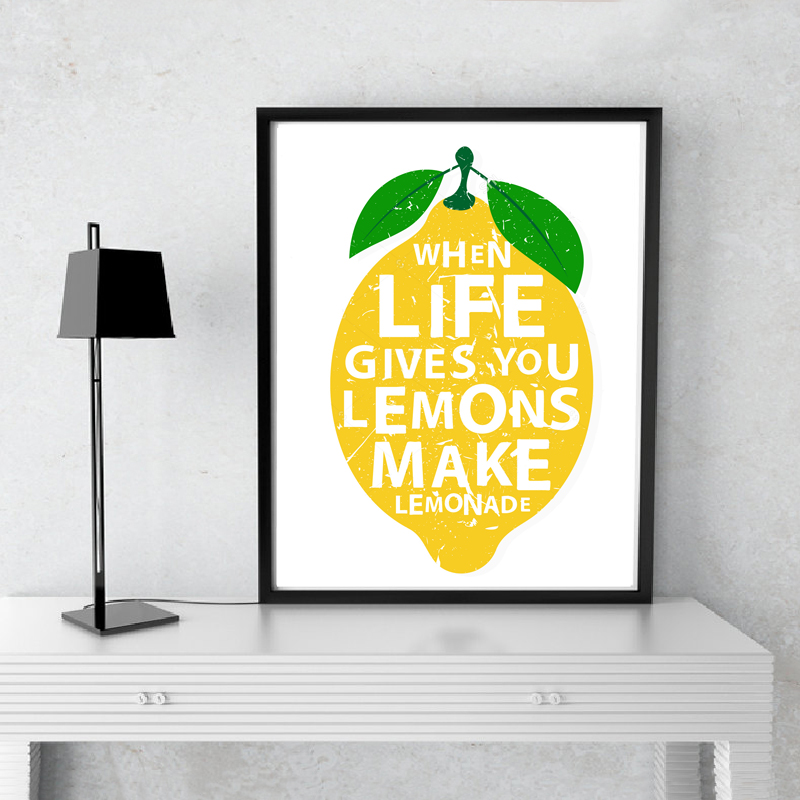 Modern When Life Gives You Lemons Make Lemonades Kitchen Decor Canvas Painting Prints Poster Wall Art Pictures Home Decorative