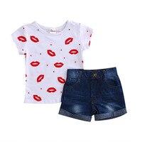Baby Girls Short Sleeve Lip O Neck White T Shirt Tops Blue Jeans Shorts Set Kids