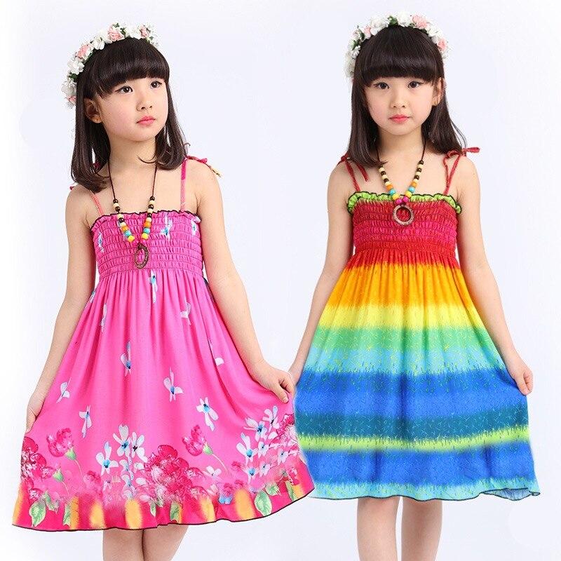 New Fashion Summer Girl Dress Printing Cool beach Strap ...