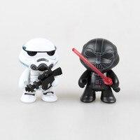 2 PC 7 CM Star Wars Darth Vader Stormtrooper Figura de Ação Tartarugas Tartarugas Cos Cos Boneca PVC Figura Brinquedos Brinquedos