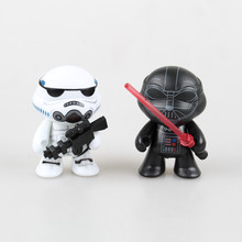 2PC 7CM Free Shipping Star Wars Turtles Cos Stormtrooper Action Figure Turtles Cos Darth Vader Doll PVC Figure Toys Brinquedos