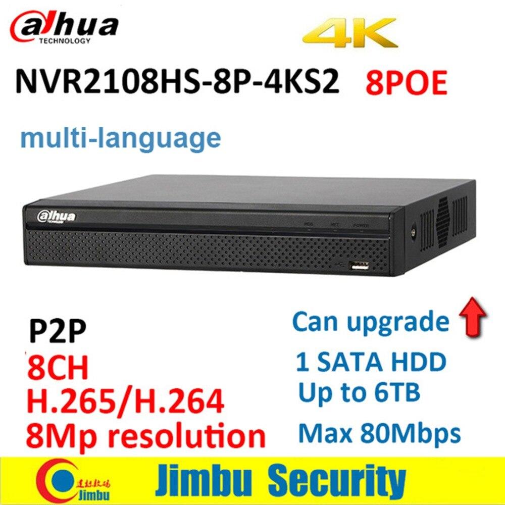 Dahua P2P NVR NVR2108HS 8P 4KS2 8POE 8CH 4 K H.265 видеомагнитофон до 8Mp разрешение P2P Max 80 Мбит/с двусторонним говорить DVR