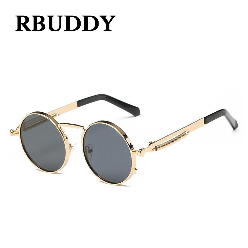 Retro Round Steampunk Lunettes de soleil Metal Frame Femmes Hommes Gothic  Vintage Sun glasses 6e841ba5d781