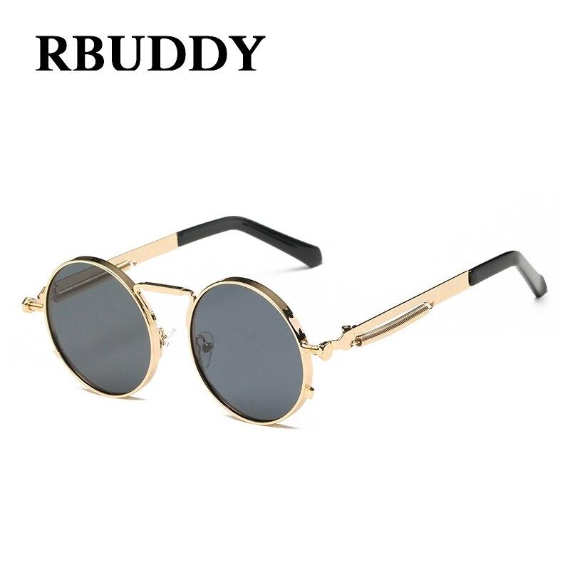 RBUDDY Klassische Vintage Steampunk Kleine Runde Sonnenbrille Gold ...
