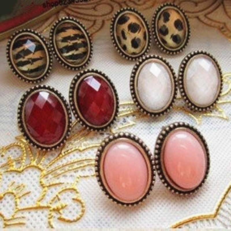 E301 Latest Fashion Sexy Retro Premium Oval Earrings Small Leopard Atmosphere Jewelry Factory Direct Sales