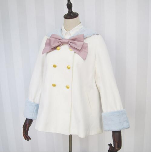 ФОТО Dolly Delly Harakuku Sailor Collar Double Breasted Kawaii White Color Block Girl's Coat/Jacket with Fur Cuffs
