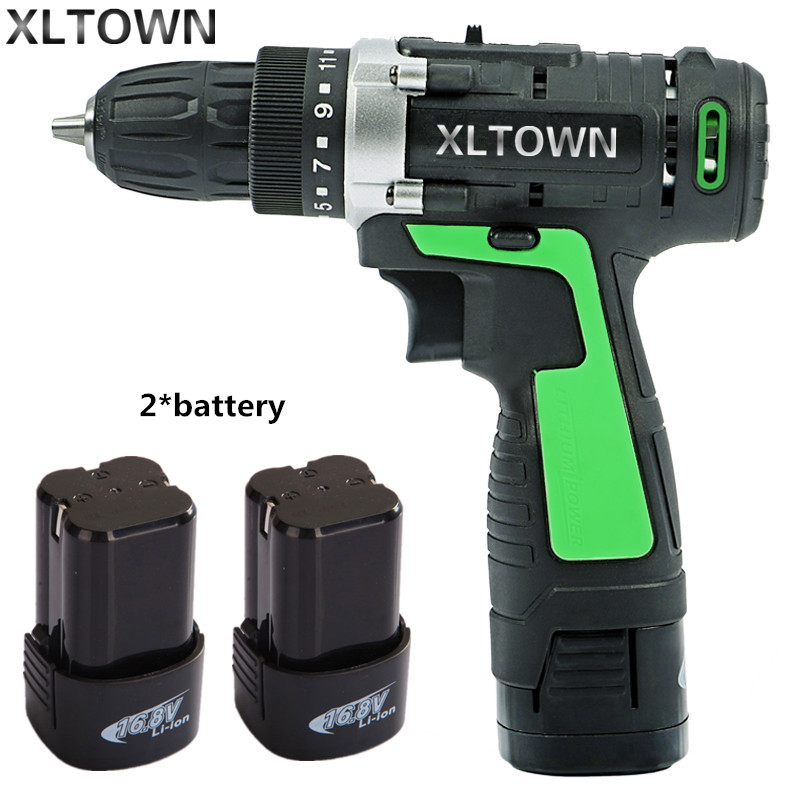 XLTOWN new 16.8v Electric Drill 2 battery Electric Screwdriver Rechargeable Two-Speed Electric Screwdriver Household power tools free shipping brand proskit upt 32007d frequency modulated electric screwdriver 2 electric screwdriver bit 900 1300rpm tools
