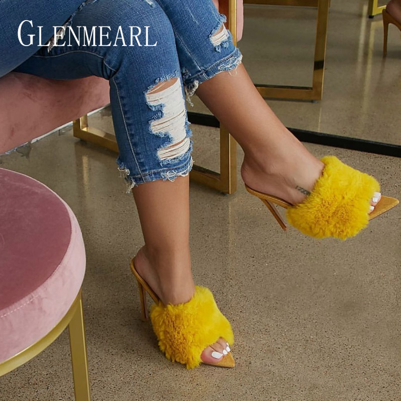 Women Slippers Mules Shoes High Heels Summer Shoes Fur Sexy Peep Toes Woman Slides Outdoor Party Shoes Plus Size Female Sandals