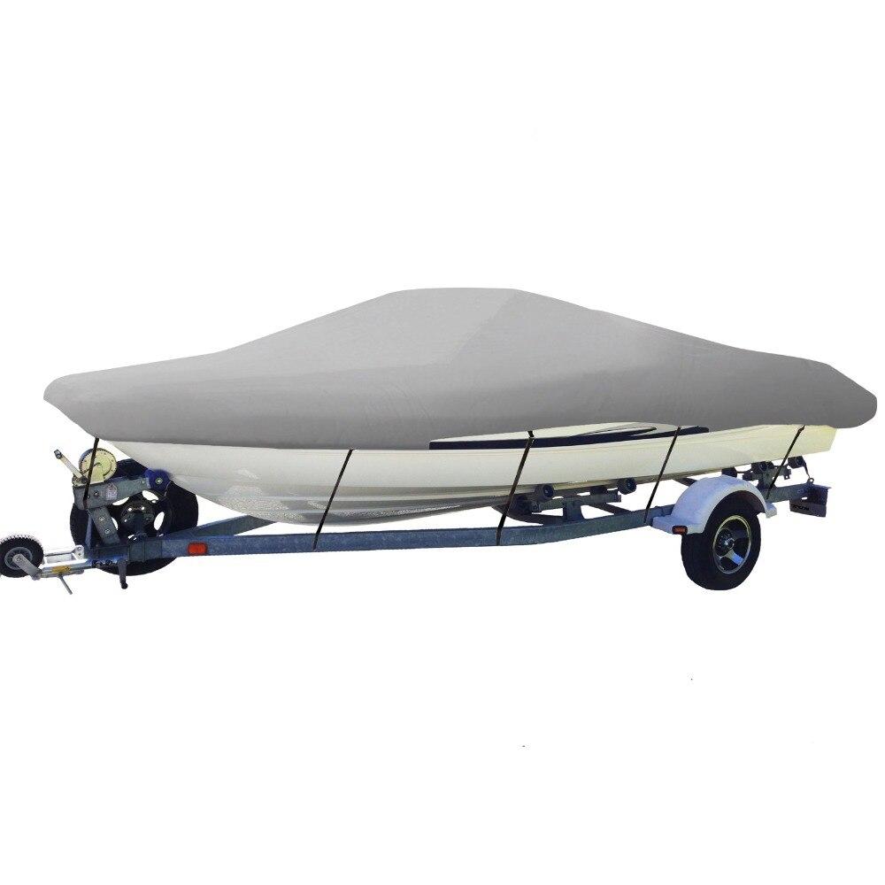 14 15 16ft remorque 210D bateau couvre imperméable gris résistant au soleil UV protecteur résistant hors-bord bateau couverture pêche Ski