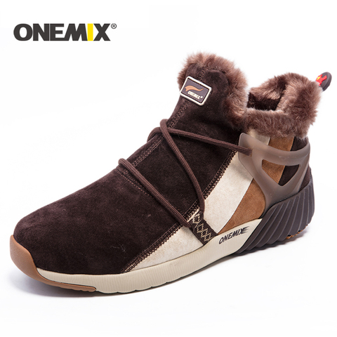 ONEMIX winter men running shoes men warm snow boots outdoor sport shoes women plush lining warm trekking shoes men sneakers men Lahore