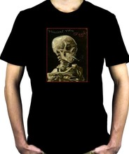 Skeleton Smoking Men T-shirt Vincent Van Gogh Painting Art Goth Emo Punk Metal New 2018 Fashion Hot Casual Cotton New Arrival(China)
