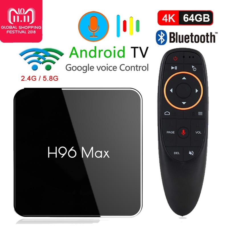 H96 Max Smart TV Box Android 8.1 Amlogic S905X2 Quad Core 64bit Media Player 4g/64g 2.4 g/5.8g Wifi USB3.0 4 k avec commande vocale