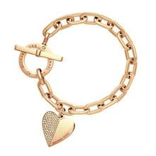 Exquisite Link Chain Polishing Crystal Gold Sliver Rose Gold Color Wrist Bracelet Trendy Heart Metal Cuff Bracelet For Woman