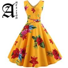цена Summer Women Dress Elegant Vintage Floral Tunic Sundress Sexy V Neck Work Office Party Dresses Plus Size Midi Robe Pin Up в интернет-магазинах