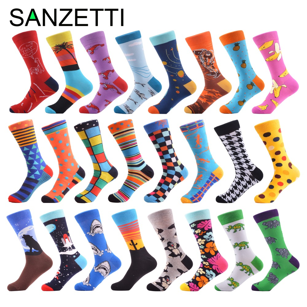 SANZETTI 1 Pair 2019 Newest Men's Colorful Comfortable Causal Dress Skateboard   Socks   Shark Geometry Pattern Funny Wedding   Socks