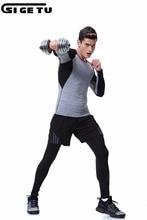 Новые мужчины Серые Длинные рукава бег трусцой Тканые костюмы для фитнеса Запуск спортивной одежды для растяжки Спортивная одежда Спортивная одежда 3шт.