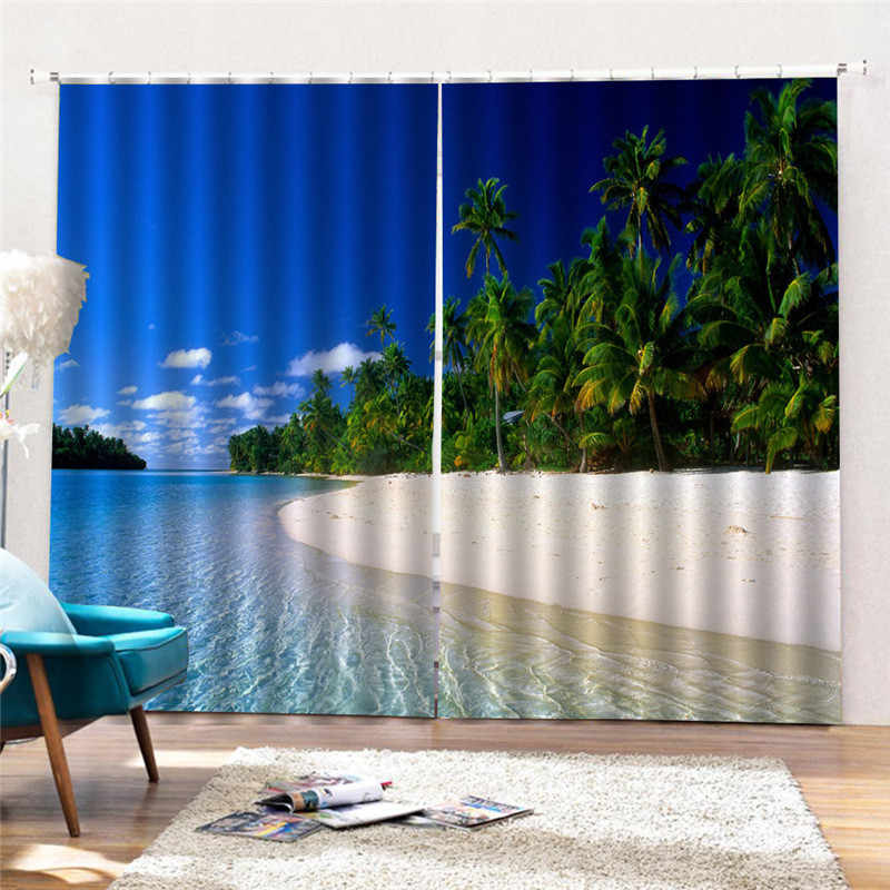 Sea Beach Blue Sky Sea View Curtain Mediterranean Style Living Room Bedroom Meeting Office Fresh Full Shade Curtain