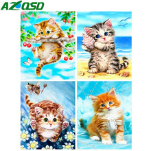 AZQSD Diamond Painting Full Square Embroidery Cat Animal Picture Of Rhinestones Mosaic Display Wall Decor