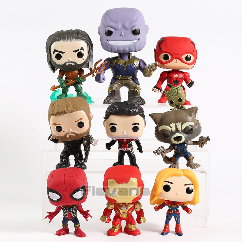 Thanos maravilha DC Aquaman Flash Thor Homem-Formiga Foguete Spiderman Homem De Ferro Capitão Marvel Figuras PVC Brinquedos Bonecas 9 pçs/set