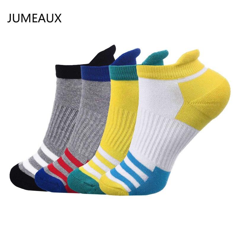 JUMEAUX 4 Pair/Lot New Arrival Men Socks Mixed Colors Stripe Short Socks Autumn Winter Cotton Polyester Man Socks