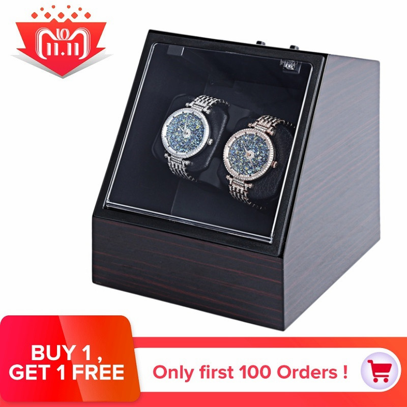все цены на Wooden Auto Silent Watch Winder Irregular Shape Transparent Cover Wristwatch Box with EU Plug Luxury Box Automatic Watch