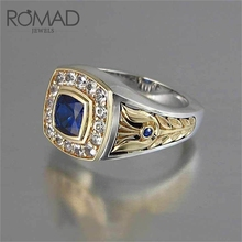 ROMAD Blue Geometric Wedding Ring Men Women Cubic Zircon Vintage Antique Rings Fashion Engagement Finger Jewelry R50