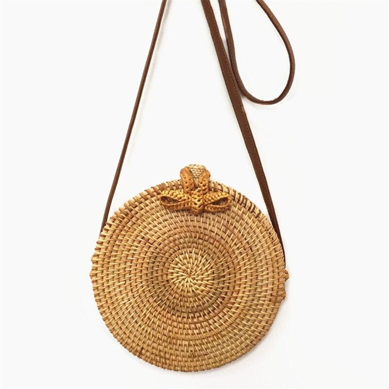Bali Island Hand Woven Bag Round Butterfly buckle Rattan Straw Bags Satchel Wind Bohemia Beach Circle Bag