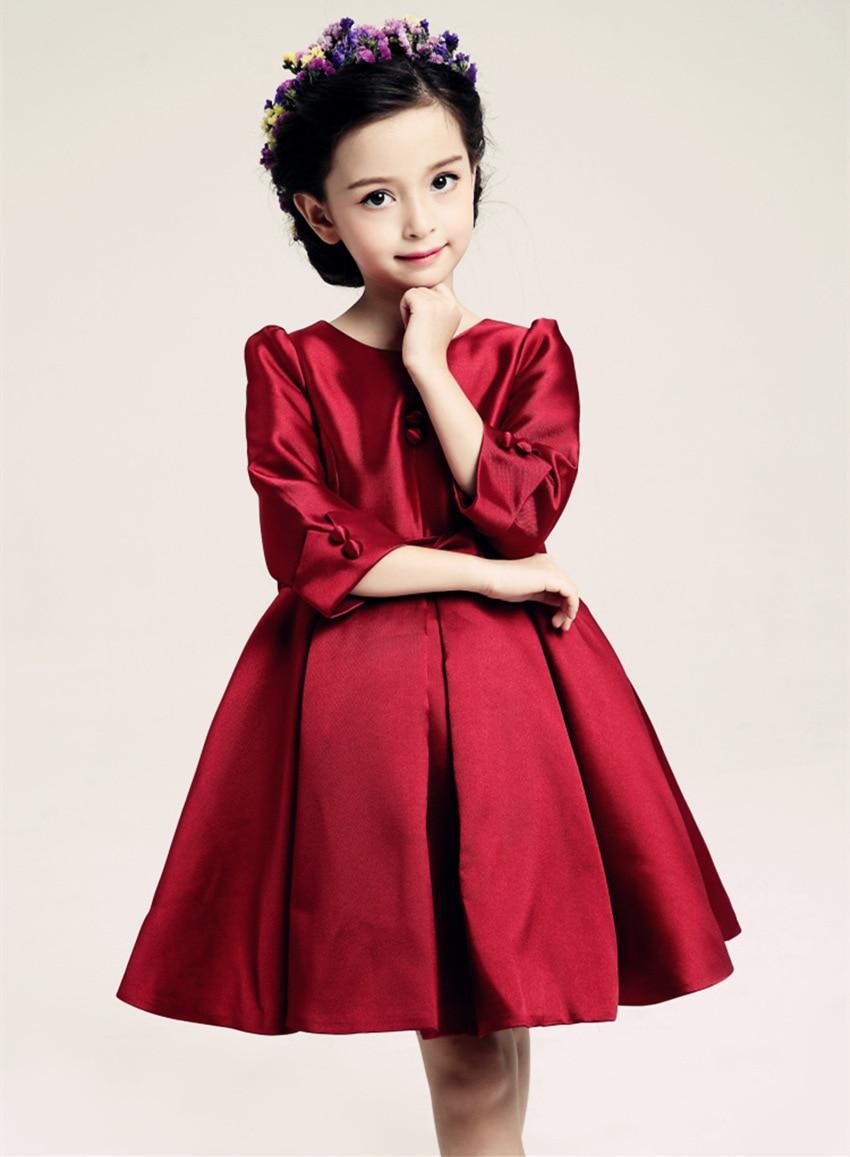 Wine Red Girls long sleeve evening Dresses Kids Princess ...