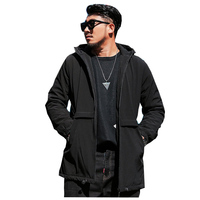 N brand Large size 5XL 6XL Men's Cotton Coat Solid color Jacket Autumn and Winter Thick Hooded Long Loose Black Casual Jacket