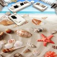 Free Shipping 3d Beach Shell Floor Wallpaper Bathroom Bookstore Shopping Mall Self Adhesive Floor Mural