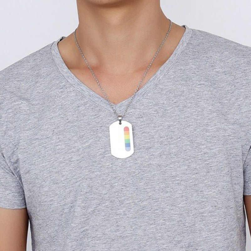 Модный Радужный кулон на цепочке для влюбленной пары из нержавеющей стали Радужная собачья табличка Подвеска цепочка ожерелье s LGBT гей гомосексуальные Любовь ювелирные изделия