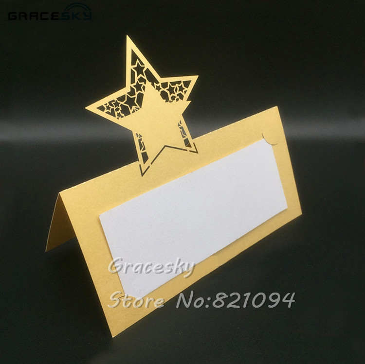 Us 9 95 17 Off 50pcs Laser Die Cut Table Name Place Seat Cards Paper Wedding Invitation Card Star Design Party Decoration Marriage Favors In Cards