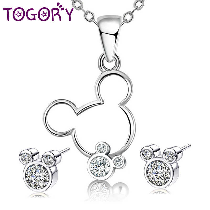 TOGORY Dropshipping Newest Fine Necklace Earrings Jewelry Sets For Women Silver Color Mickey Wedding Party Jewelry Sets