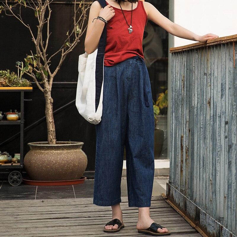 Johnature 2019 Summer Wash Denim Mid Waist   Wide     Leg     Pants   Women Plus Size Casual Vintage Dark Blue Jeans Ankle-length   Pants   New