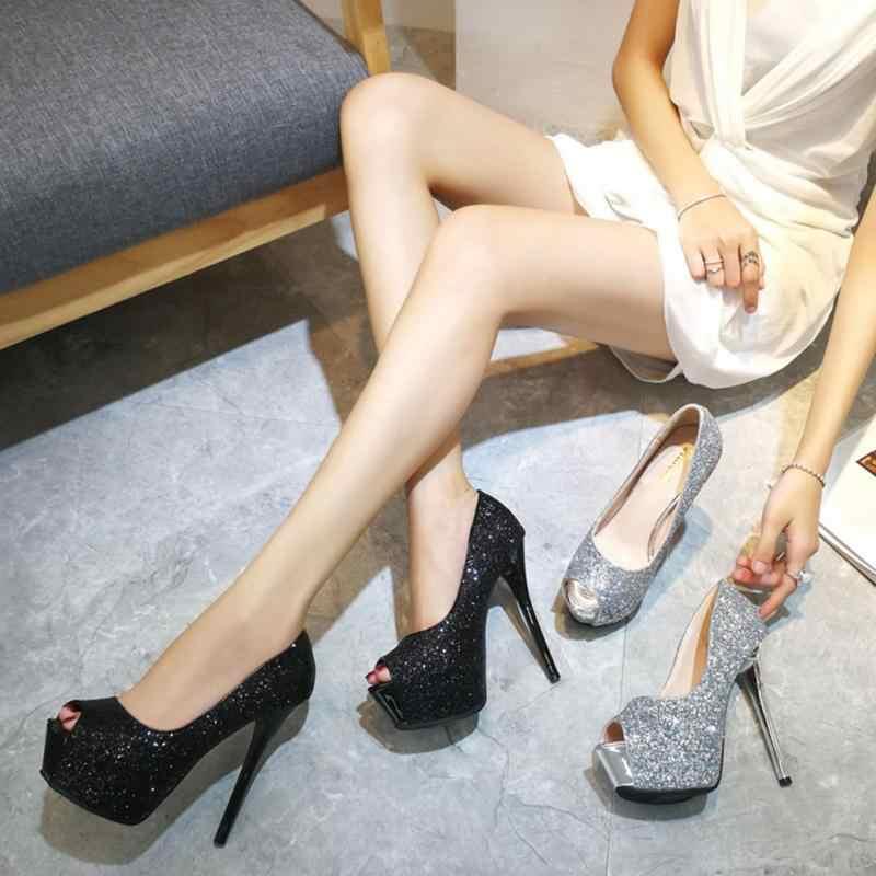 2018 women high heels prom wedding shoes lady crystal platforms silver  Glitter rhinestone bridal shoes thin 05df76bb8233